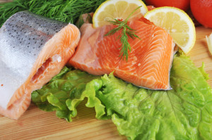 pieces of  salmon, calorie, daily requirement